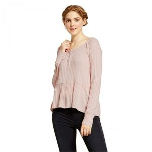 NWT Mossimo Cozy Peplum Henley Sweater Small Pink